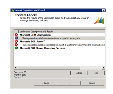 The organization database version is not supported for