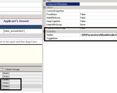 Hiding and shrinking the width of the Column in SSRS 2008
