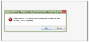 Fatal error during installation- Microsoft Dynamics CRM Report