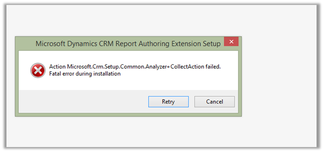 Fatal error during installation- Microsoft Dynamics CRM