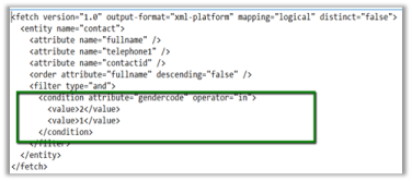 Sample Fetch XML Report using Multivalued Parameter (in Operator) in