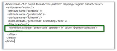 Sample Fetch XML Report using Multivalued Parameter (in Operator) in