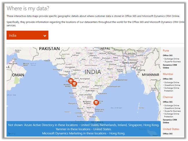 Map For Microsofts Global Data Centers Microsoft Dynamics CRM - Microsoft world map