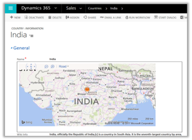 Simple Bing Map HTML Web Resource to show Country location