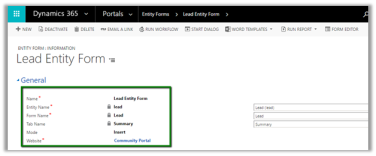 Using Entity Form to show CRM Form inside Portal in Dynamics