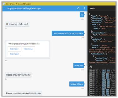 Using Dialogs in Microsoft Bot Framework (Creating lead in