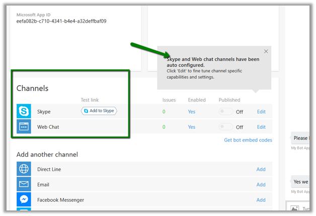 Publishing Bot to Azure and adding it to Skype (Microsoft