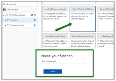 Calling Azure Functions (GenericWebHook-Csharp) from CRM