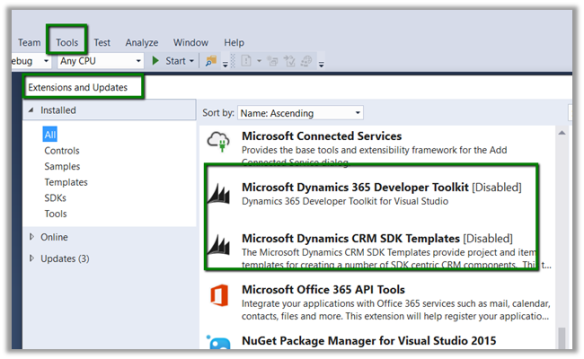 Dynamics 365 Developer Toolkit – The extension is already