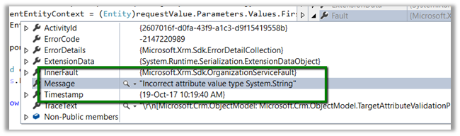 Incorrect attribute value type System String in Dynamics 365 (CRM