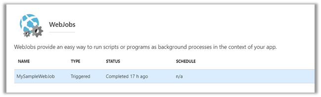Update Schedule of existing Azure WebJobs (triggered) - Microsoft