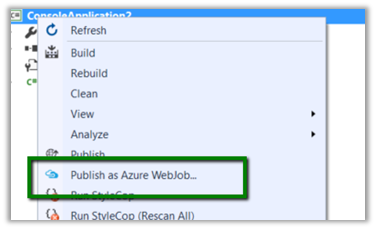 Publish as Azure Web Job Option missing in Visual Studio