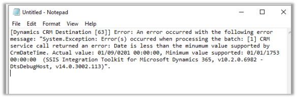 CRM service call returned an error: Date is less than the