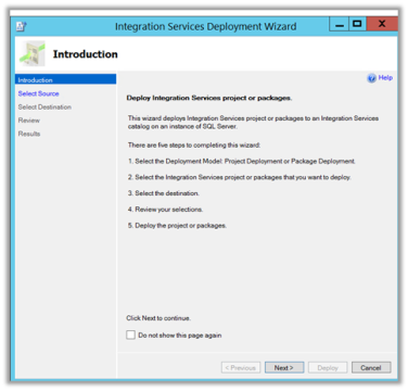 Deploying Package to SQL Server Integration Services Catalog