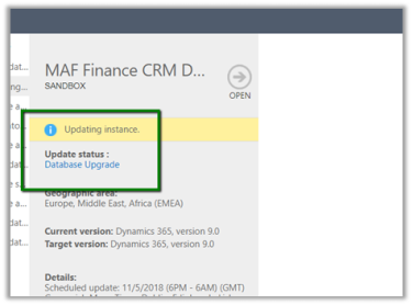 Different Updating Instance status during Dynamics 365