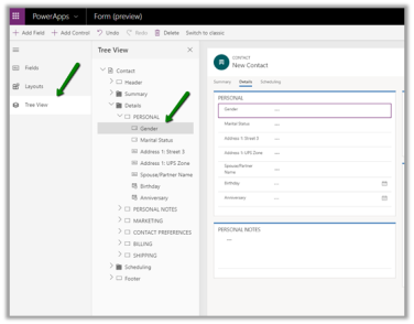 The new model-driven form designer (WYSISYG) in PowerApps