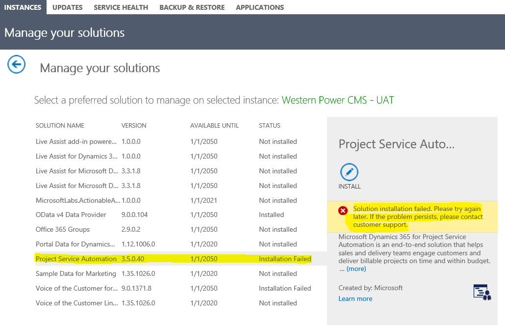 Dynamics 365: Solution install failed