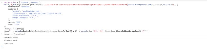 Retrieve Record Count JS