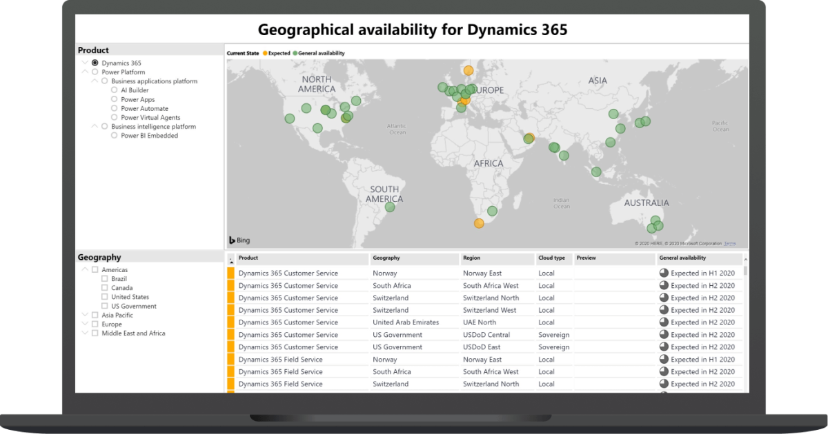 Check Dynamics 365 App and Power Platform features availability at differentgeography
